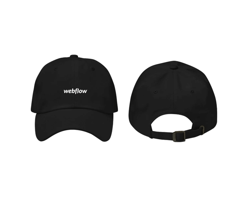 A black low profile, adjustable hat with a curved visor and a small Webflow logo centered on the front.