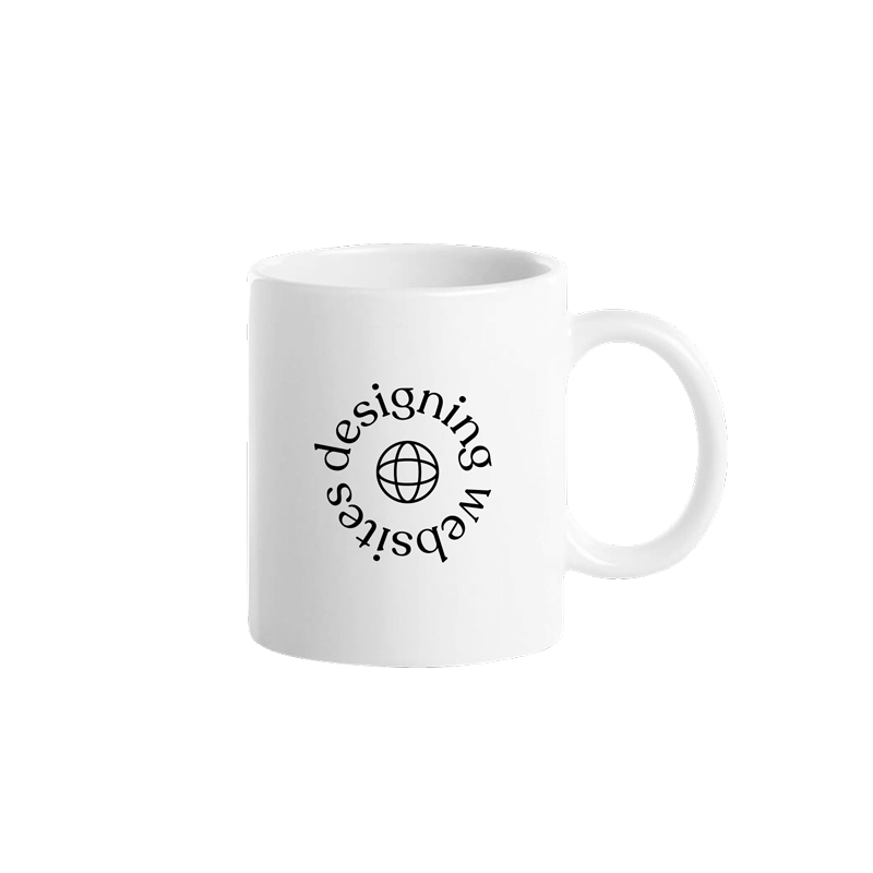 "A white ceramic coffee mug with a circular text design saying ""designing websites"" around a minimal globe line illustration."
