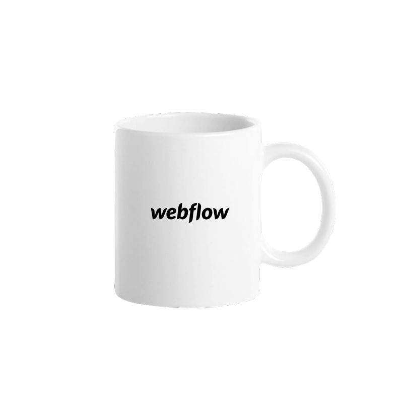 A white ceramic coffee mug with a small black Webflow logo centered on one side.