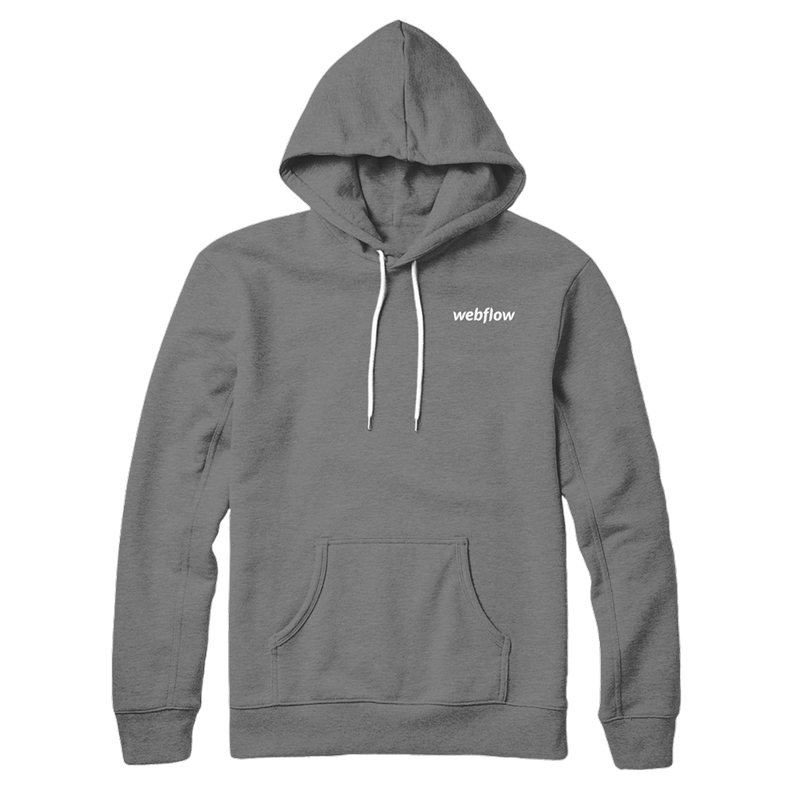 A gray hooded sweatshirt with a front pocket, white draw strings and a small white Webflow logo in the upper right corner.
