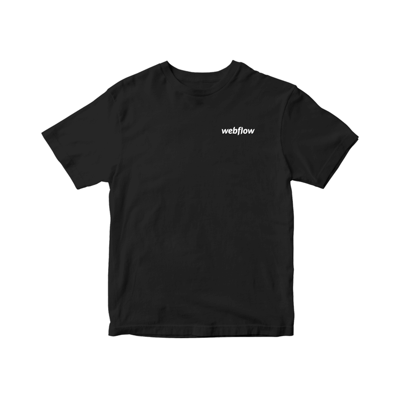 A black t-shirt with a small white Webflow logo in the upper right corner.