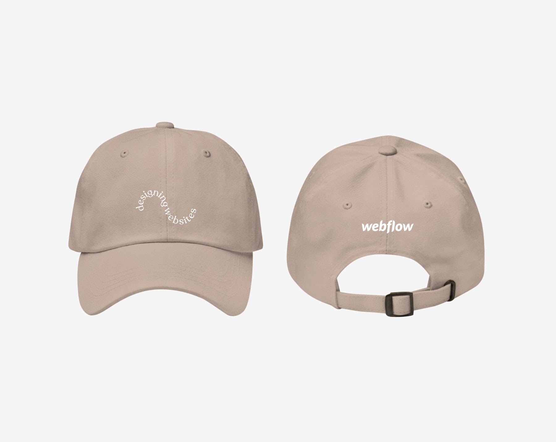 """A low profile, adjustable hat with a curved visor and curved texted on the front saying """"designing websites"""" plus a small Webflow logo on the back."""
