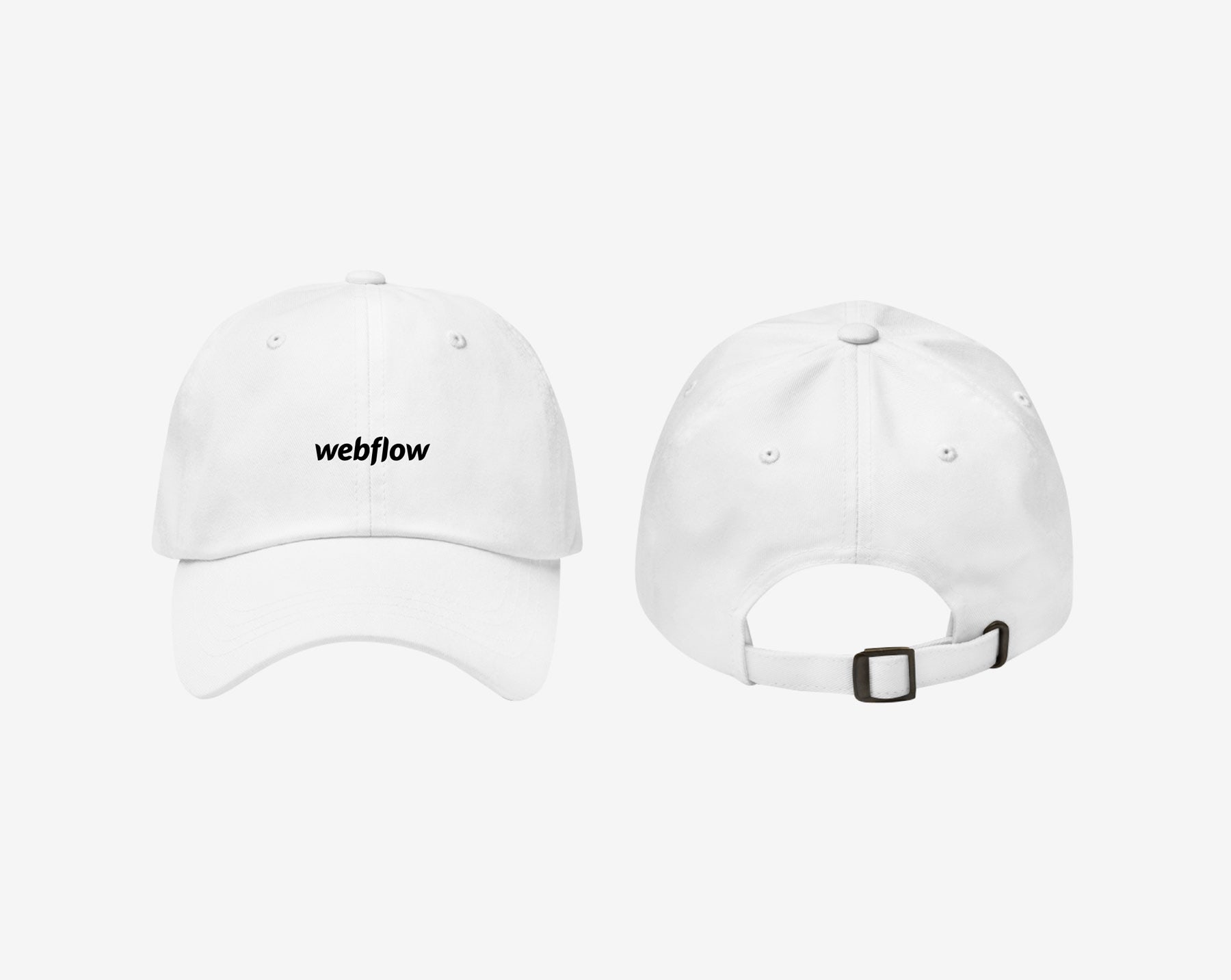 A low profile, adjustable hat with a curved visor and a small Webflow logo centered on the front.