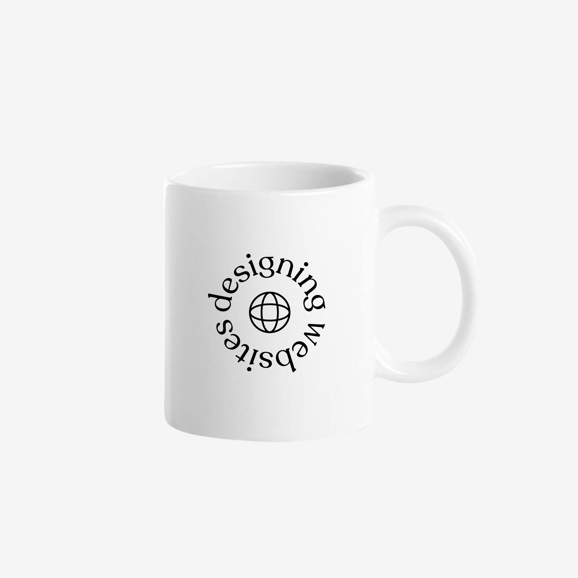 "A white ceramic coffee mug with a circular text design saying ""designing websites"" around a minimal globe line illustration."