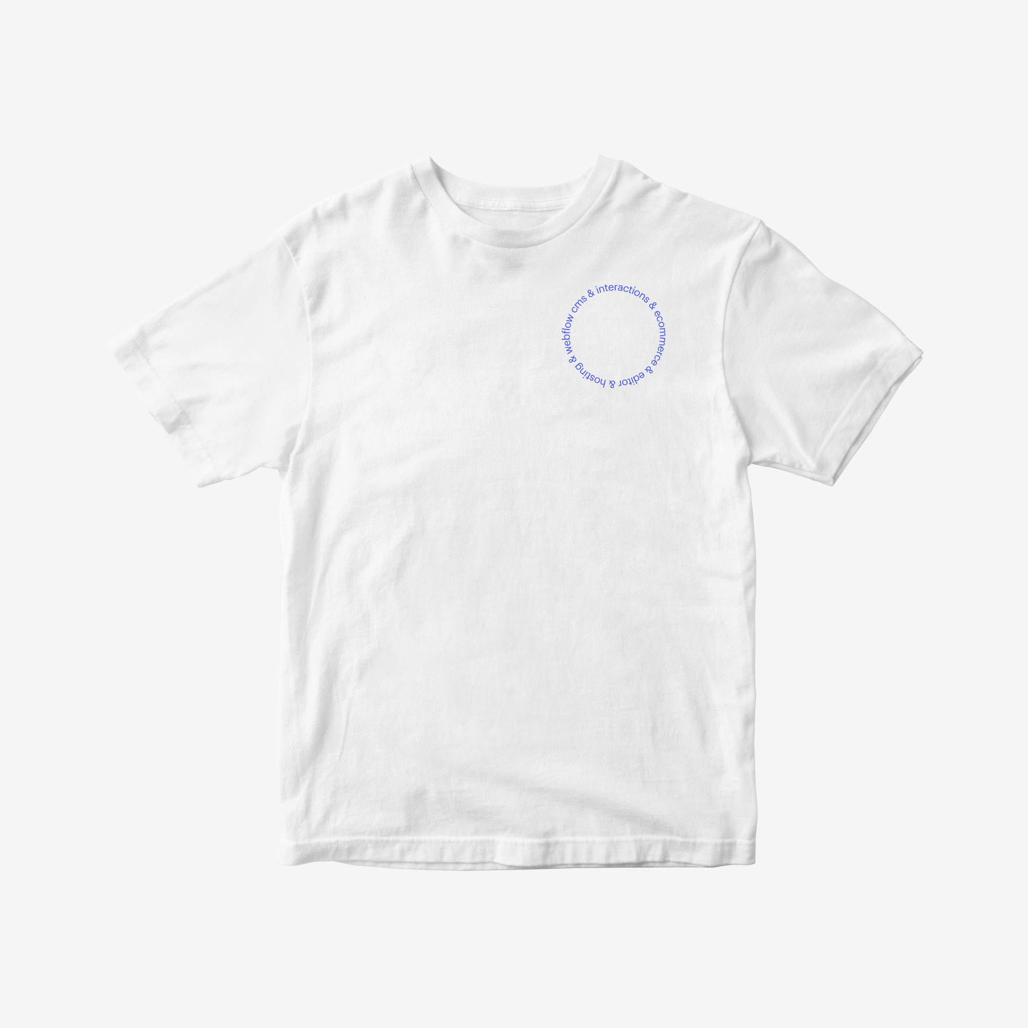 """A t-shirt with text in a circle design saying """"webflow cms & interactions & ecommerce & editor & hosting"""" in the upper right corner."""
