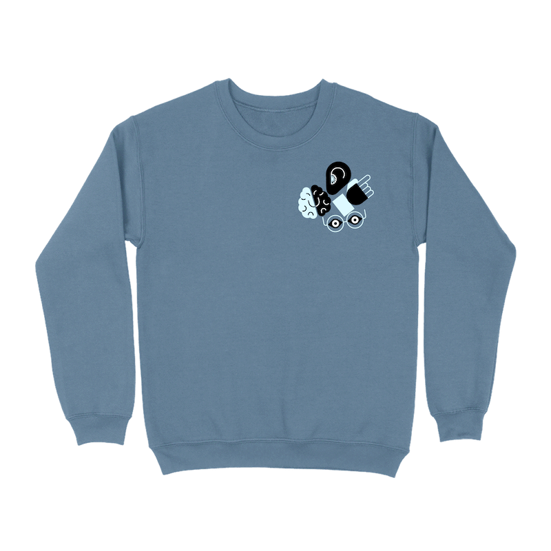 An indigo blue crew neck sweatshirt with a cluster of illustrated icons representing an ear, brain, hand, and eyes in the upper right corner of the front.