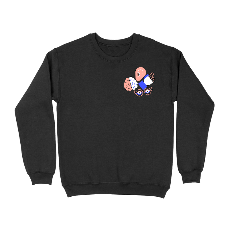A black crew neck sweatshirt with a cluster of illustrated icons representing an ear, brain, hand, and eyes in the upper right corner of the front.