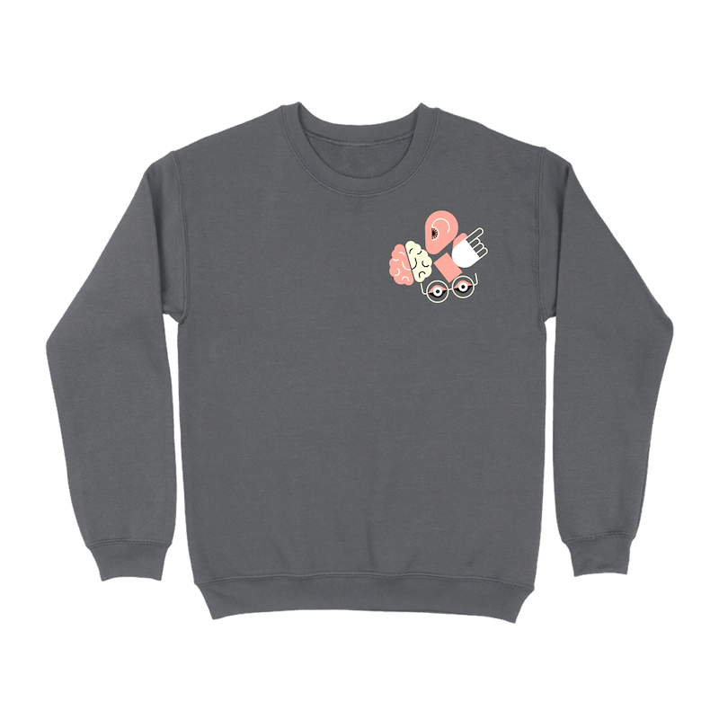 A dark gray crew neck sweatshirt with a cluster of illustrated icons representing an ear, brain, hand, and eyes in the upper right corner of the front.