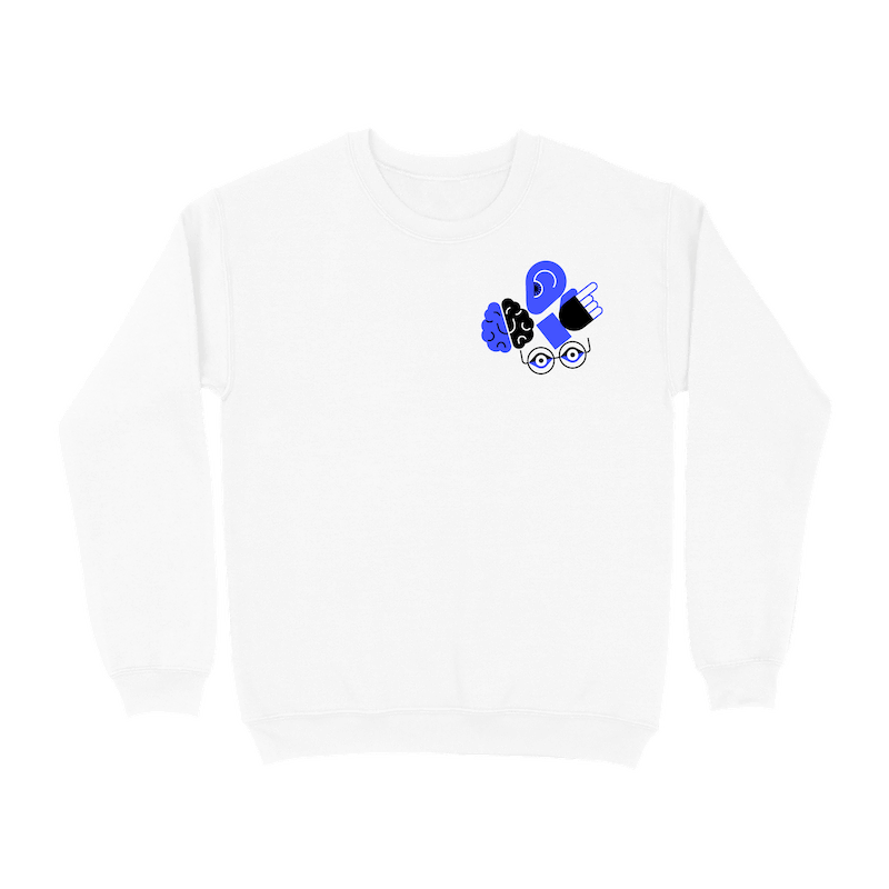 A white crew neck sweatshirt with a cluster of illustrated icons representing an ear, brain, hand, and eyes in the upper right corner of the front.