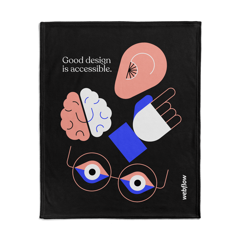 """A silk touch throw blanket with a black front of illustrated icons of a ear, brain, hand and eyes next to the text """"Good design is accessible"""" and the Webflow logo."""