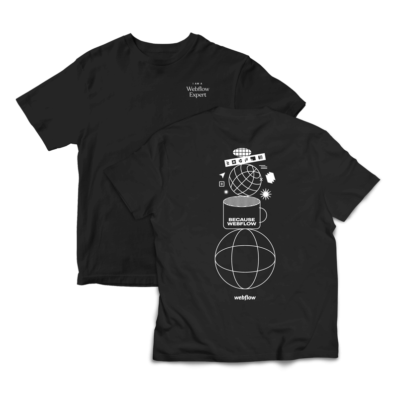 """A black Illustrated type tee with the saying """"I am a Webflow Expert"""" in the front upper corner and a collage style illustration on the back."""
