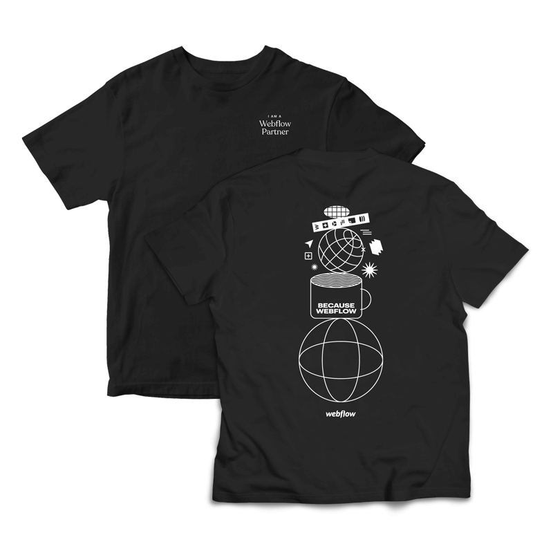 """A black Illustrated type tee with the saying """"I am a Webflow Partner"""" in the front upper corner and a collage style illustration on the back."""