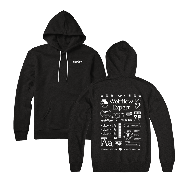 """A black hooded sweatshirt with a front pocket, white draw strings and a white Webflow logo in the upper right corner, plus a design on the back of large illustration icons and text saying """"I am a Webflow Expert"""""""