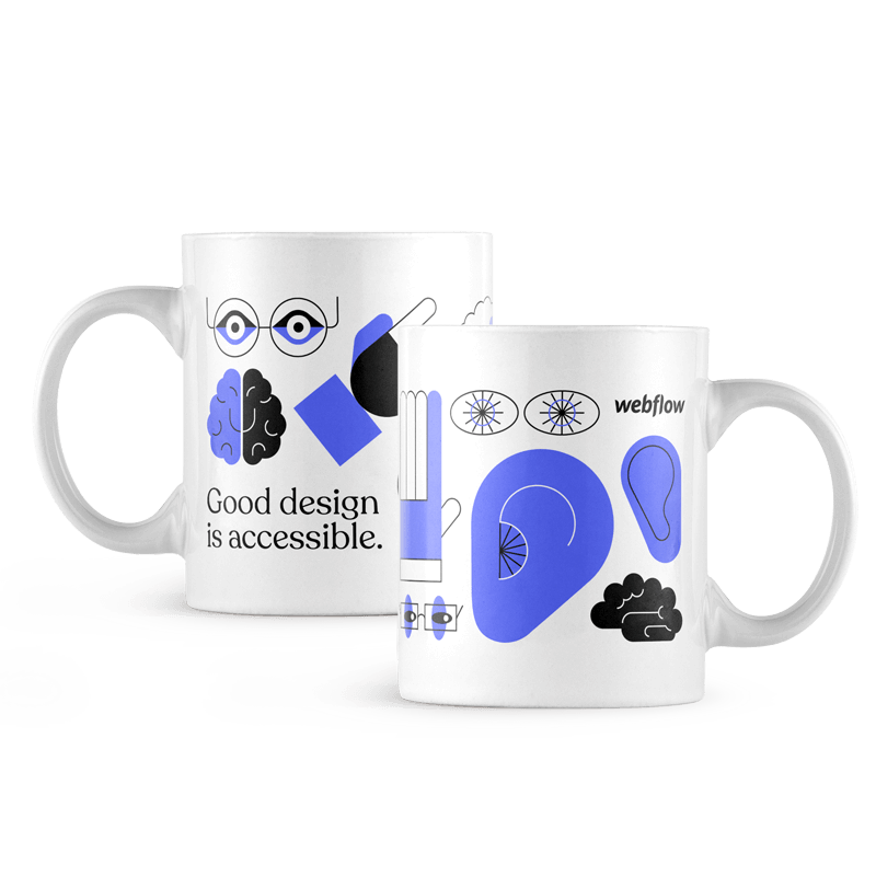 """A white ceramic coffee mug with a the black text """"Good design is accessible"""" on one side, the Webflow logo on the other side, and illustrated icons of an ear, brain, hand and eyes wrapping around."""
