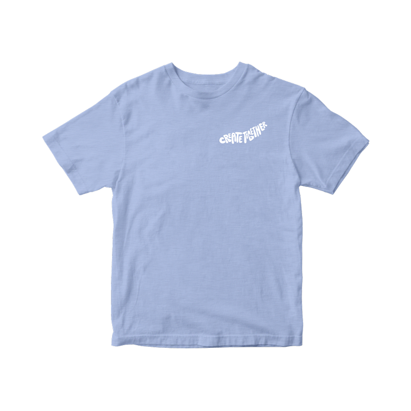 """Blue unisex-fit tee features the phrase """"create together"""" in curvy white bubble lettering on the left chest area."""