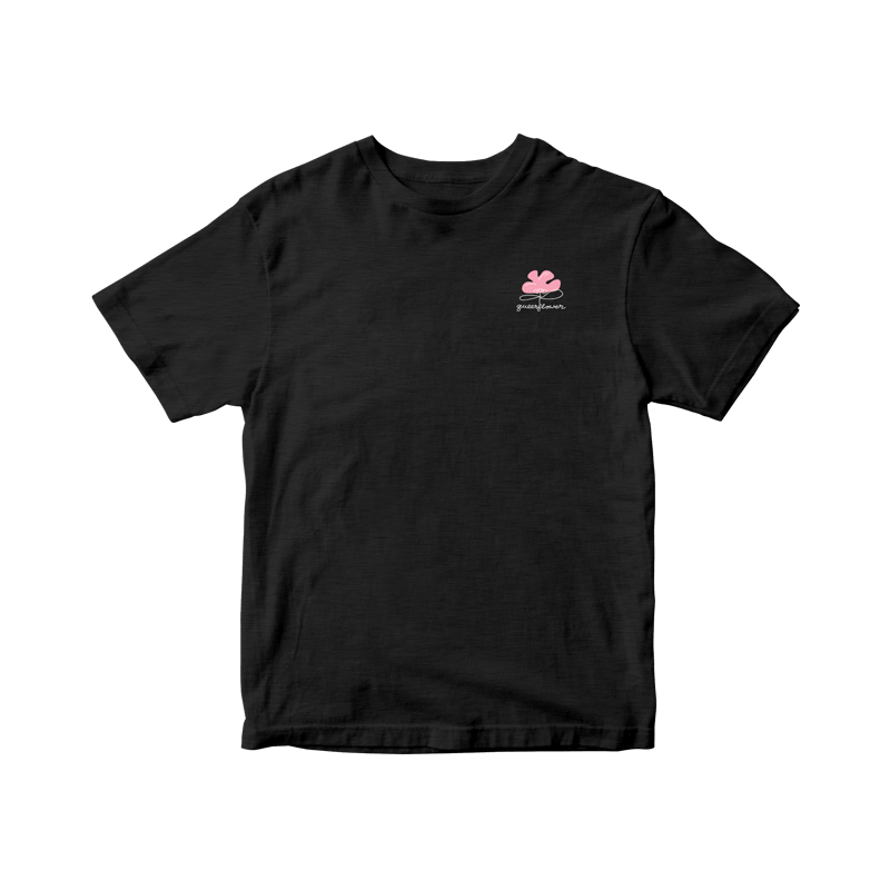 """This black unisex-fit t-shirt features a small pink flower illustration on the left chest area with the phrase """"queerflower"""" in white underneath."""