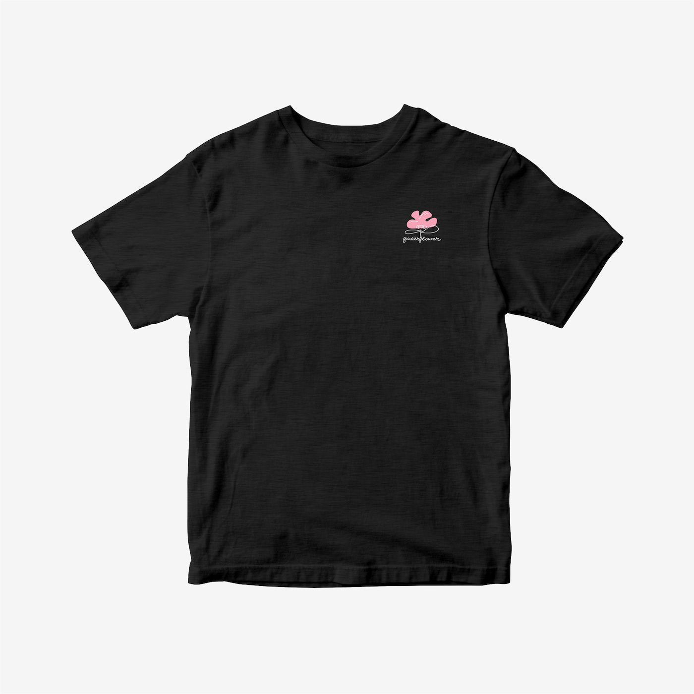 """This unisex-fit t-shirt features a small pink flower illustration on the left chest area with the phrase """"queerflower"""" in black underneath."""