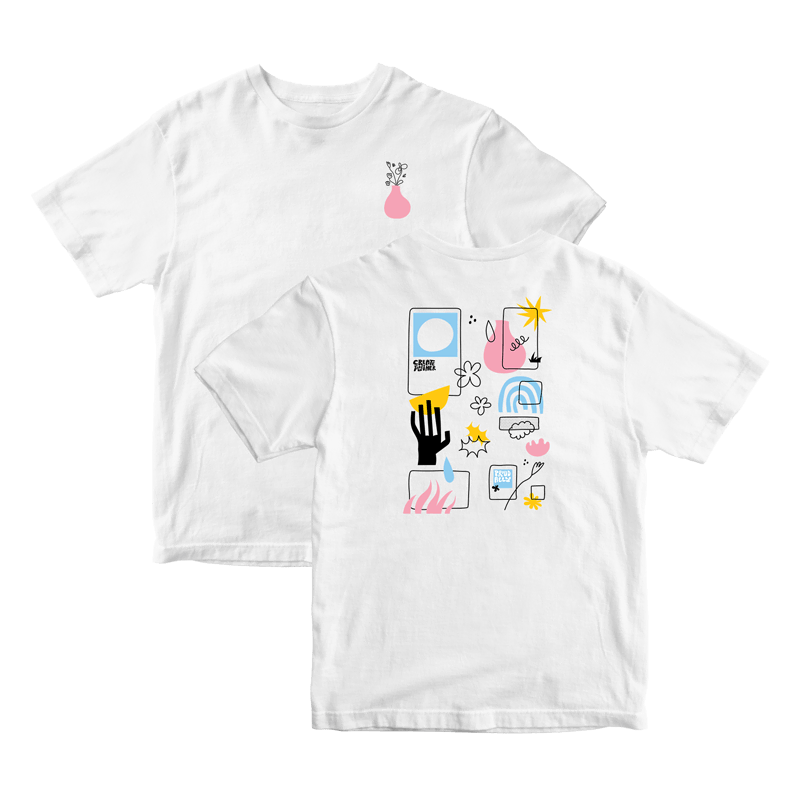 """Subtly represent your commitment to creating together with this unisex-fit tee, featuring a pink and black vase-with-flowers illustration on the front chest area, and pink, blue, yellow, and black shape illustrations on the back with phrases """"create together"""" and """"proud ally."""""""