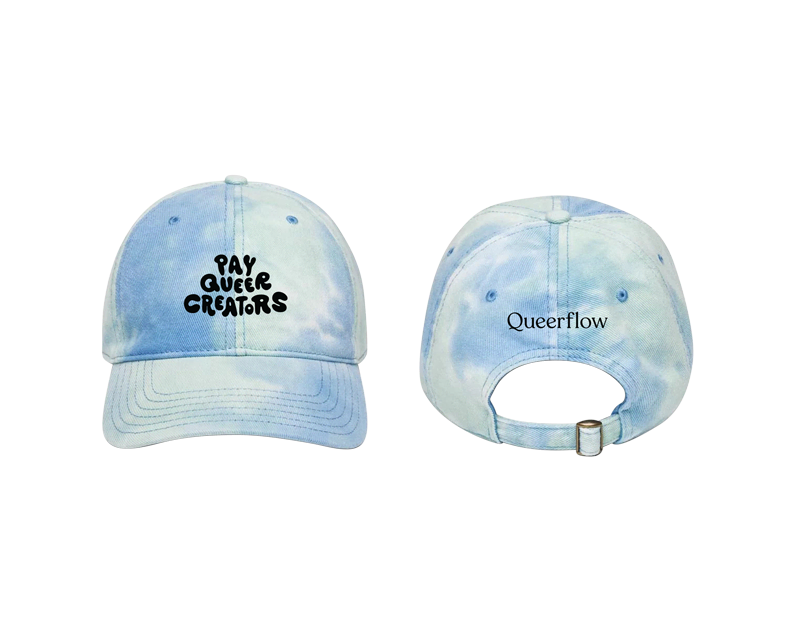 """With the phrase """"pay queer creators"""" in black thread on the front, and the """"Queerflow"""" logo on the back, this cap makes an important statement whether you're coming or going."""