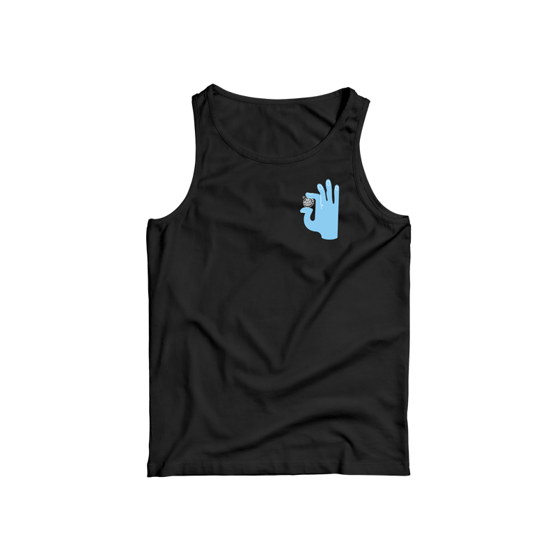 This black sleeveless top has a unisex fit and features a blue hand illustration holding this important message.