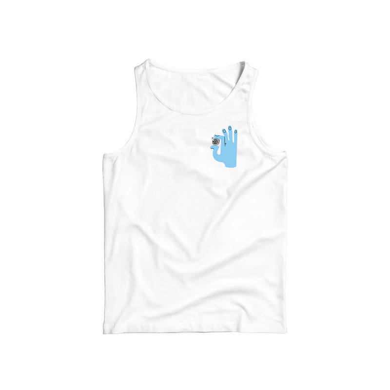 This white sleeveless top has a unisex fit and features a blue hand illustration holding this important message.