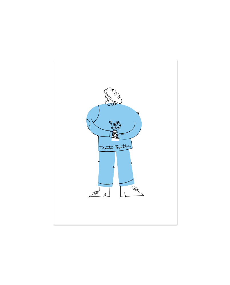 A white poster with an abstract illustrated character standing and looking to the side, wearing blue cloths with the saying 'Create together' written across their shirt