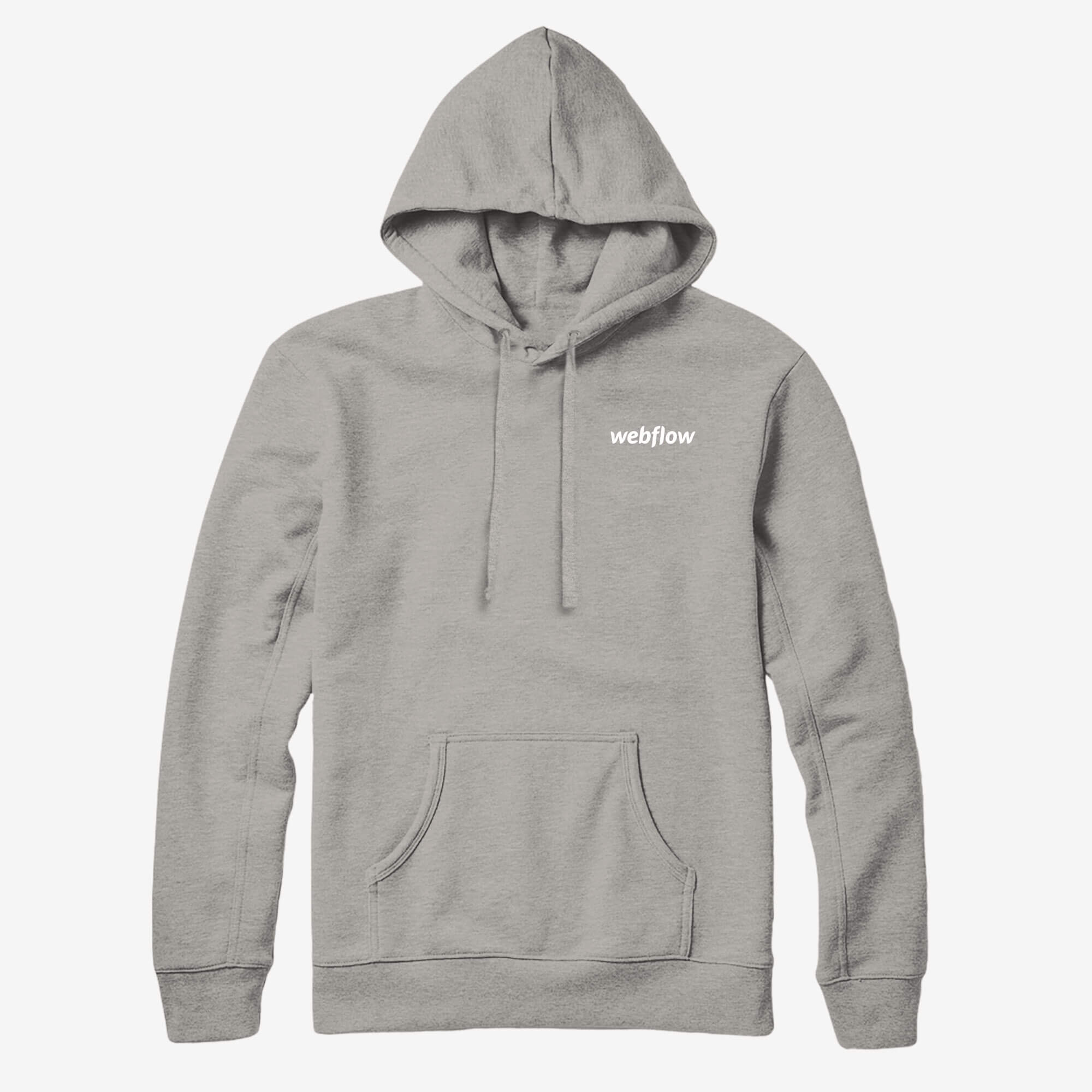 A hooded sweatshirt with a front pocket, white draw strings and a small Webflow logo in the upper right corner.