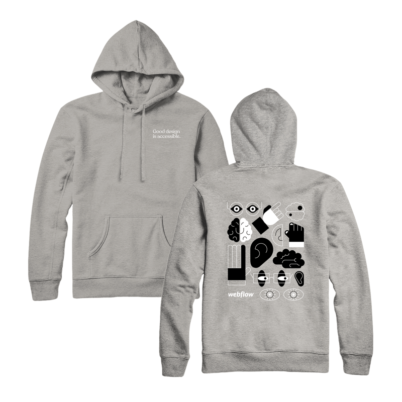 """A gray hooded sweatshirt with a front pocket, draw strings and small text saying """"Good design is accessible"""" in the upper right corner, plus a design on the back of large illustration icons of an ear, brain, hand and eyes."""
