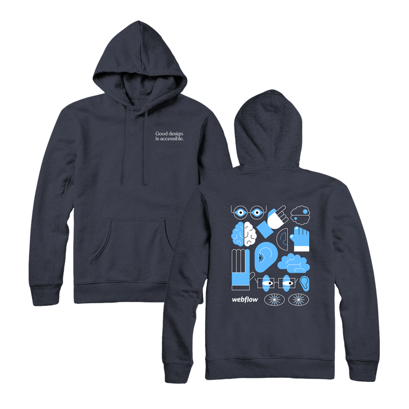 """A navy hooded sweatshirt with a front pocket, draw strings and small text saying """"Good design is accessible"""" in the upper right corner, plus a design on the back of large illustration icons of an ear, brain, hand and eyes."""