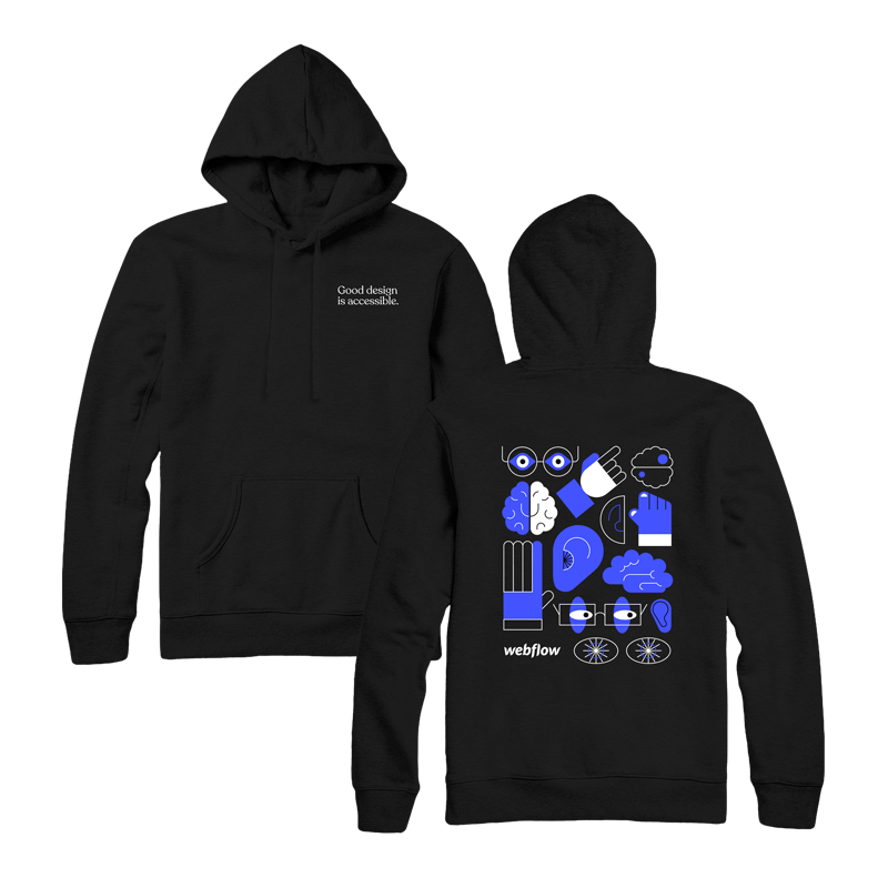 """A black hooded sweatshirt with a front pocket, draw strings and small text saying """"Good design is accessible"""" in the upper right corner, plus a design on the back of large illustration icons of an ear, brain, hand and eyes."""