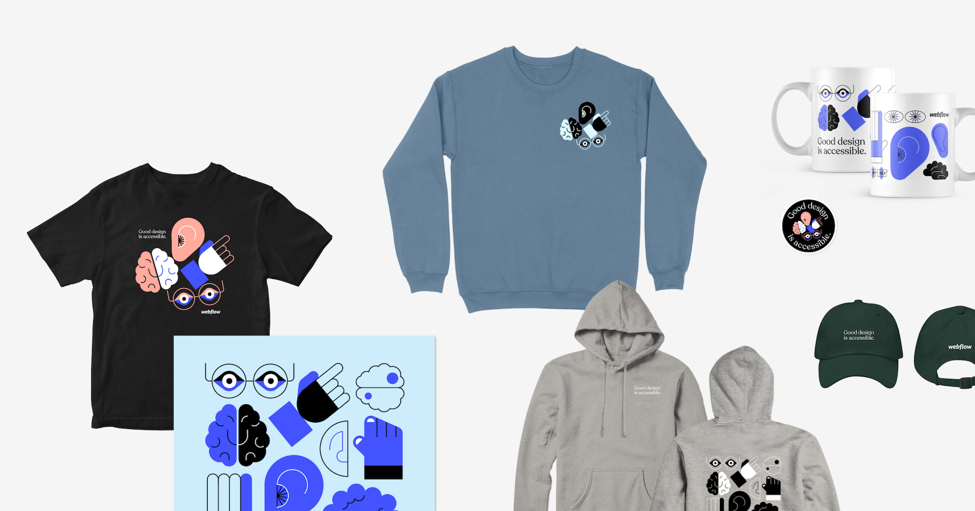 Arrangement of products from collection like a t-shirt, crew neck sweatshirt, poster, mug, sticker, hat and hoodie.