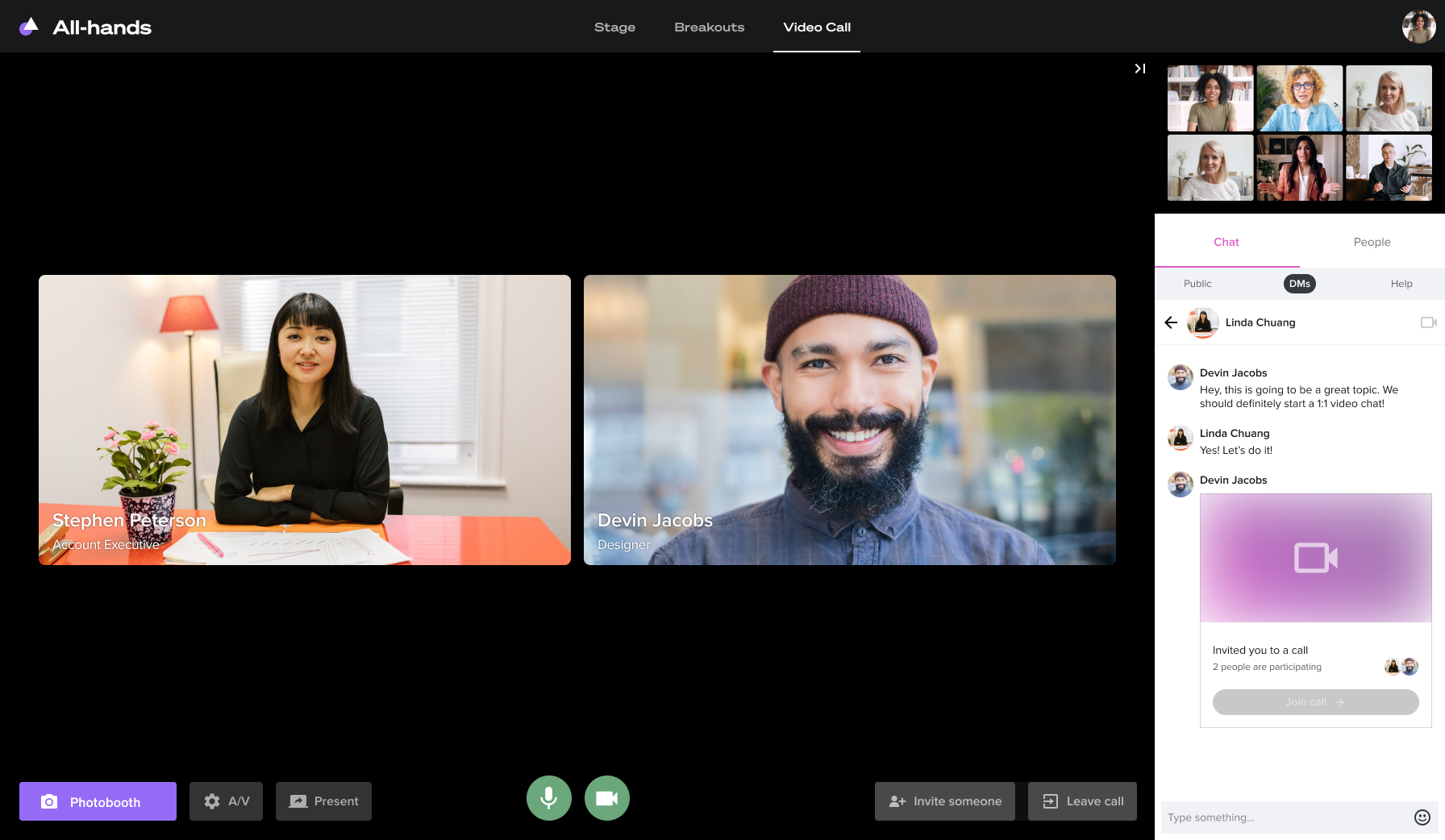 1:1 Video calls in Welcome