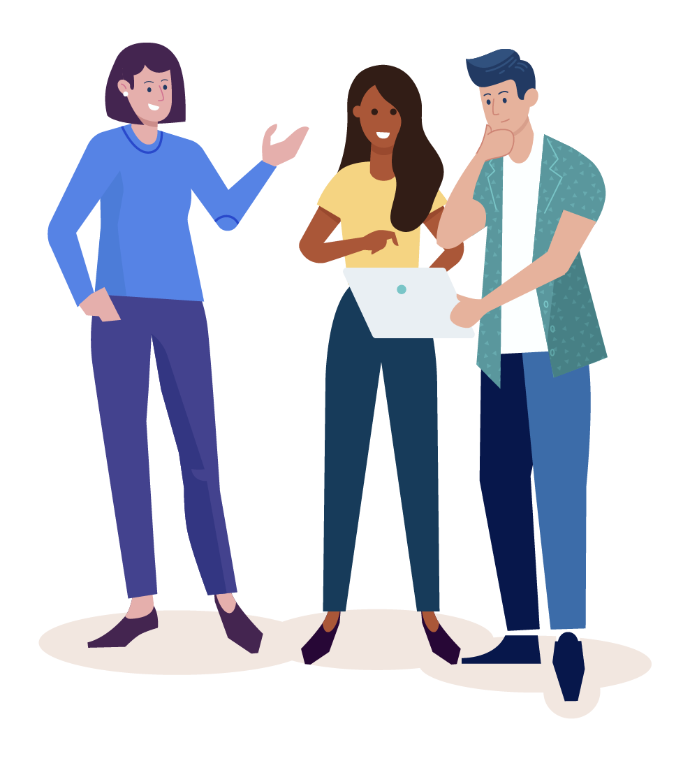 Illustration of three people working together