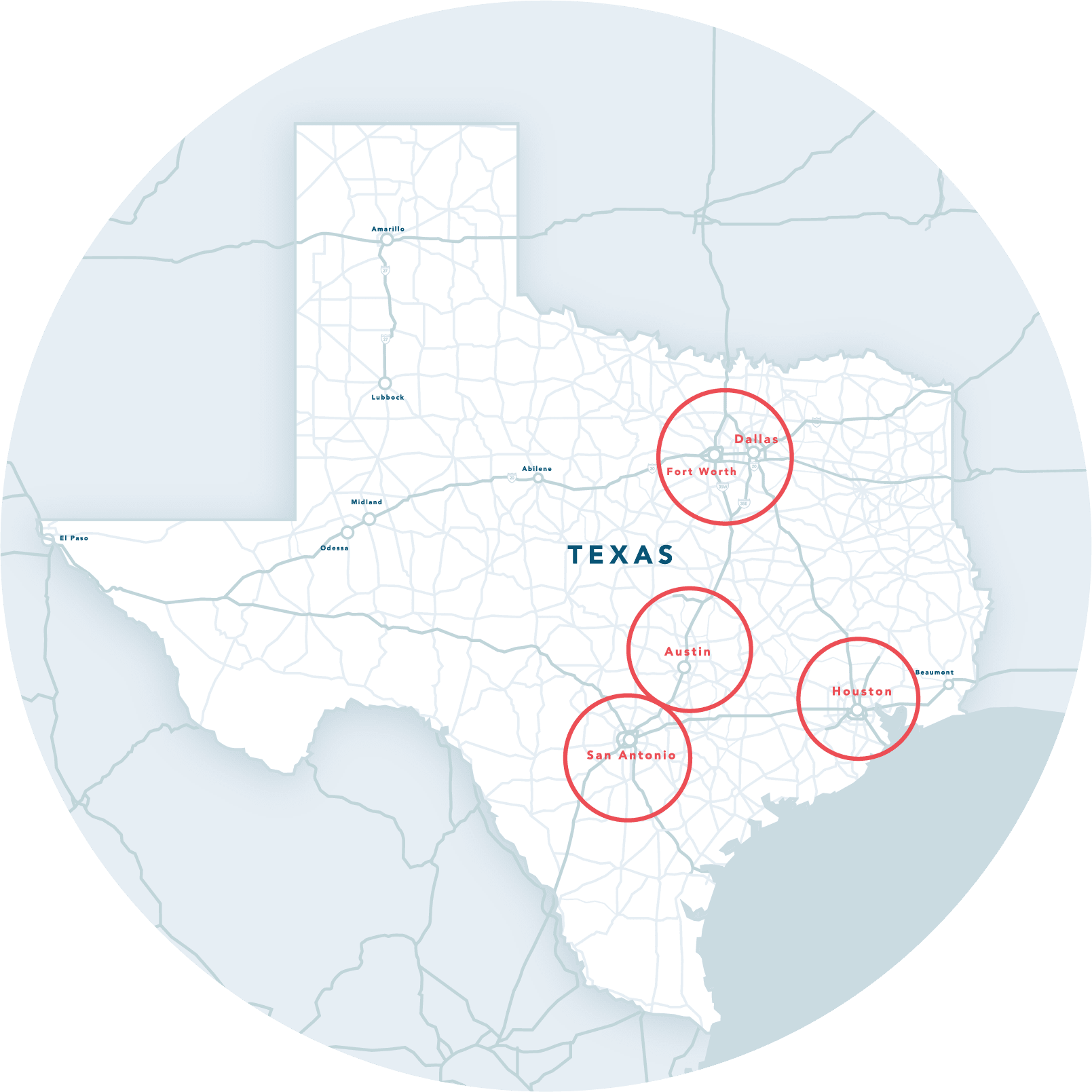 Illustration of Texas with major metro areas highlighted