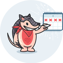 Illustration of Gifford the armadillo checking off days on a calendar
