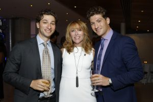 Dylan Levin with brother and mother at 2019 American Institute for Stuttering Gala