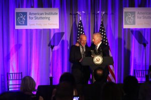 Joe Biden and Bruce Willis at 2016 Stuttering Gala