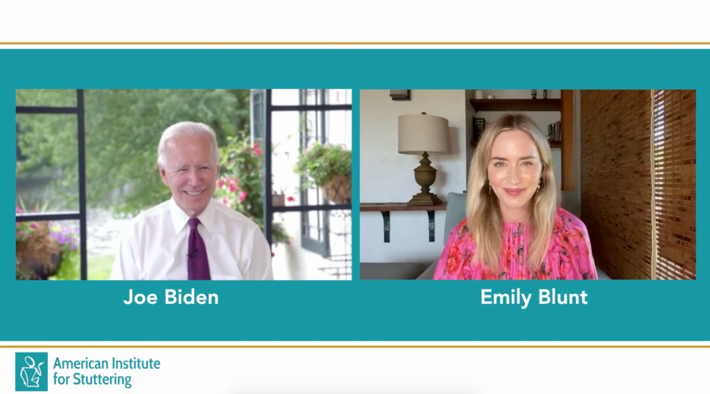 American Institute for Stuttering, Virtual Gala Emily Blunt Joe Biden