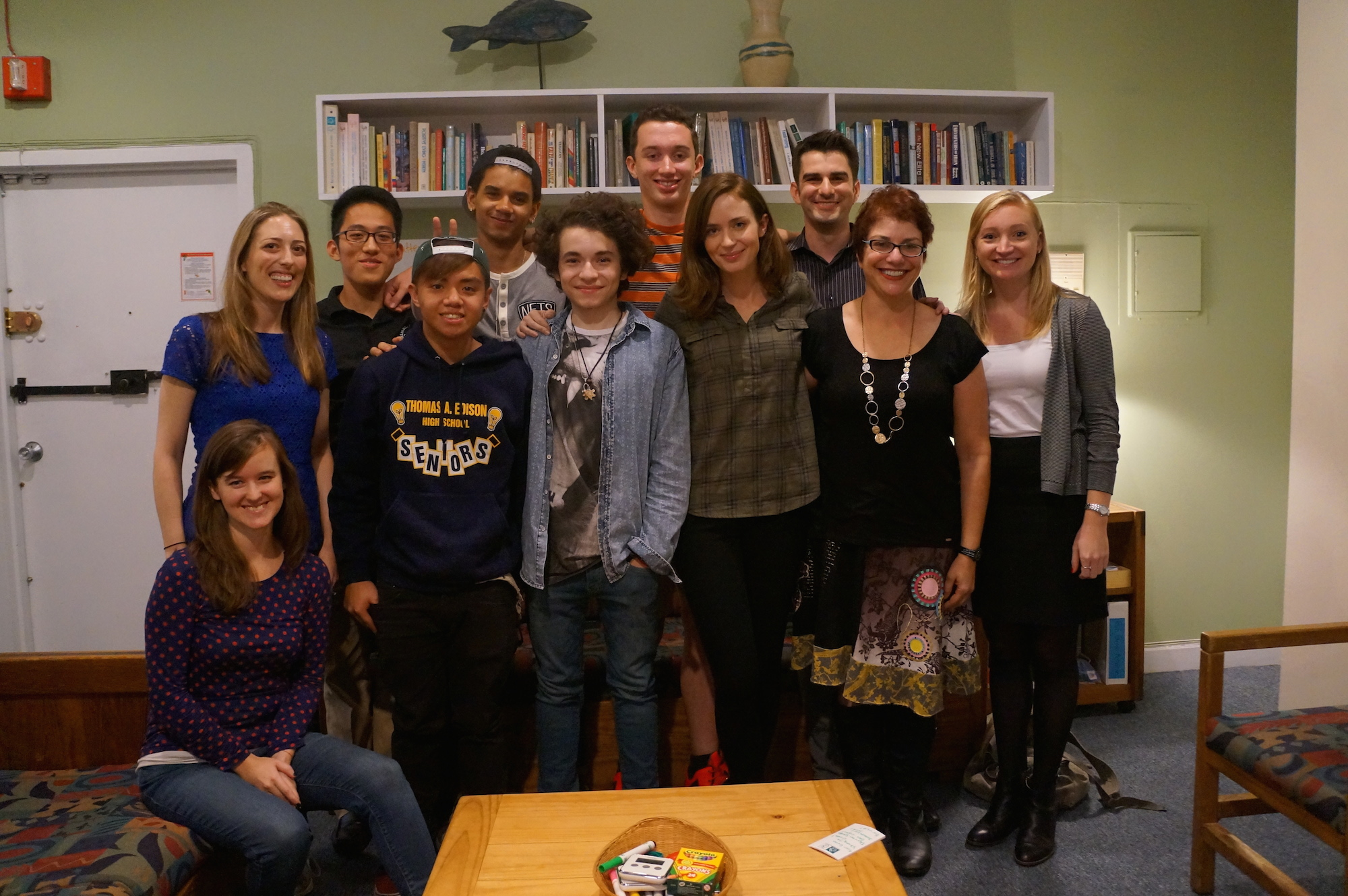 Emily Blunt group photo with American Institute for Stuttering teens and staff