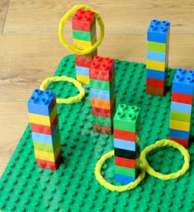 Lego bricks forming towers