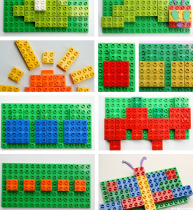Pictures of different combinations of Lego bricks