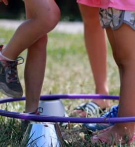 Kids in hula hoop