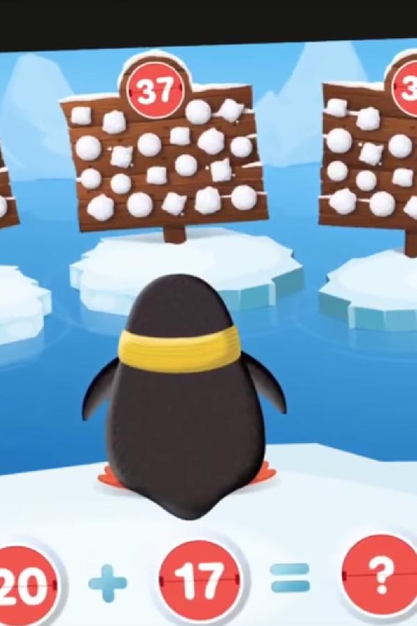 cartoon penguin in number game