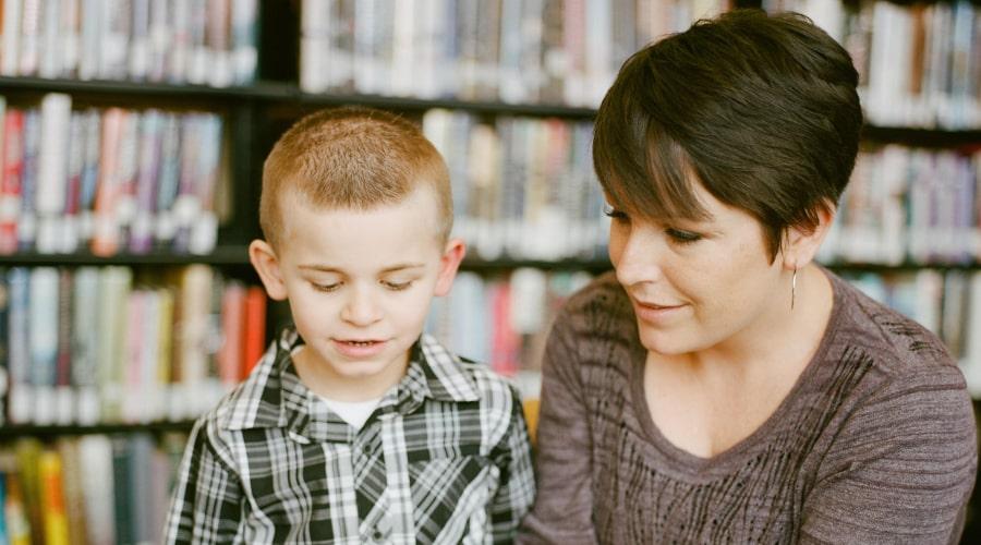 Adult & kid interacting