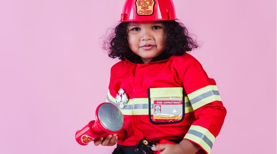 Girl in firefighter costume