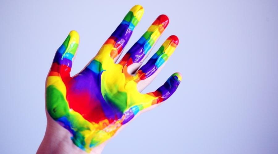 Rainbow paint hand