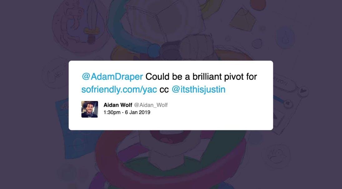 aidan wolf tweet to adam draper