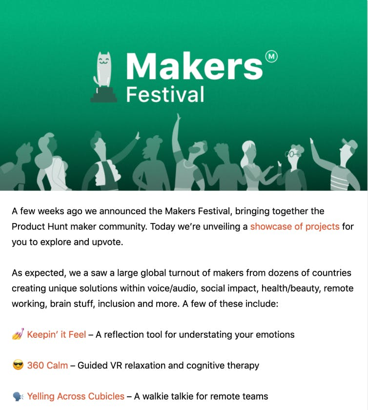 product hunt maker's festival screenshot