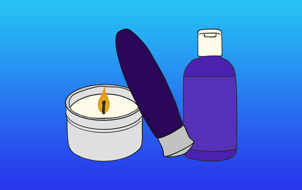 Massage Candle, Vibrator, and Personal Lubricant