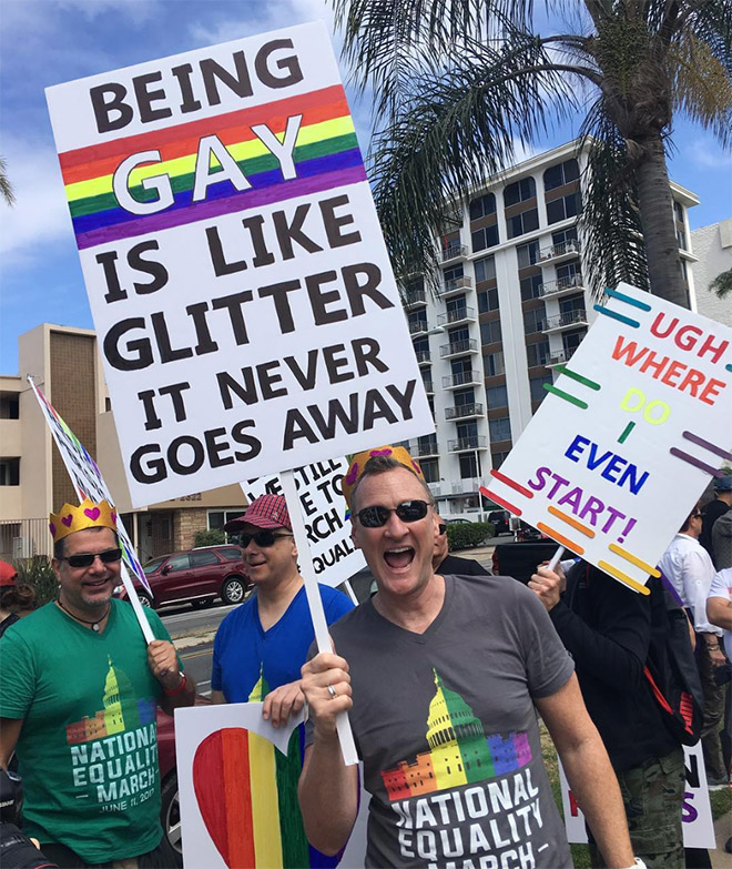being gay is like glitter it never goes away sign